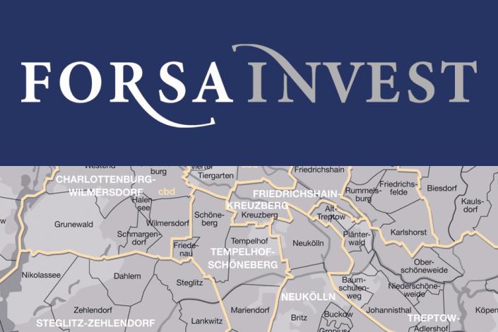 Logo und Berlin-Karte Forsa Invest
