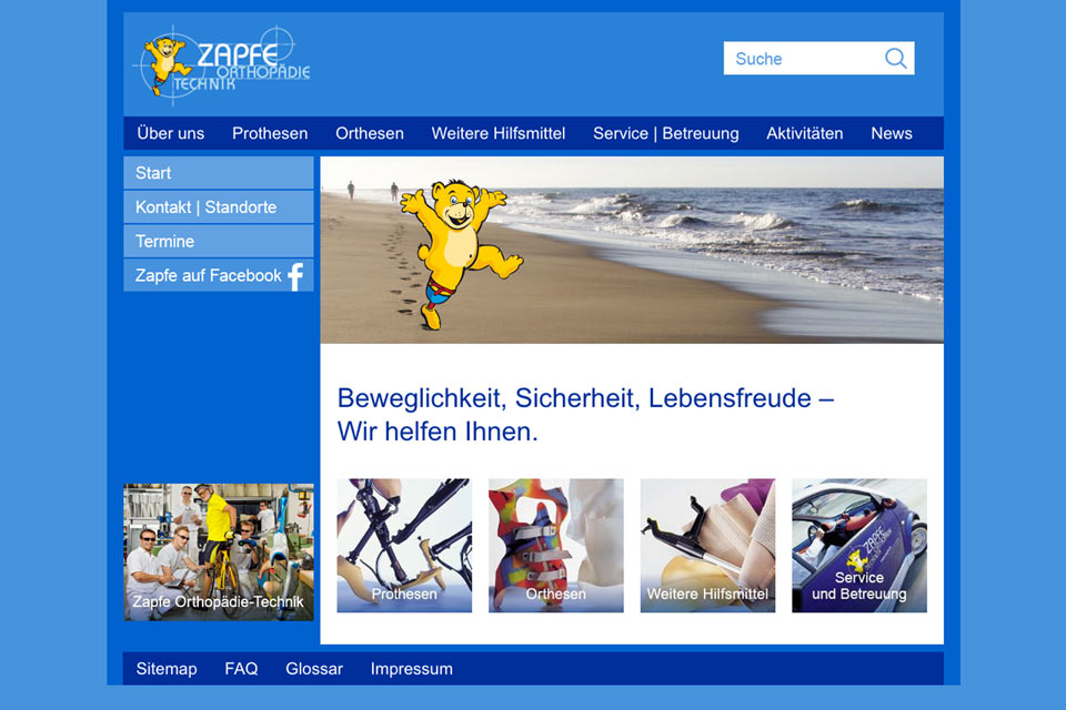 Website Zapfe Orthopädie-Technik