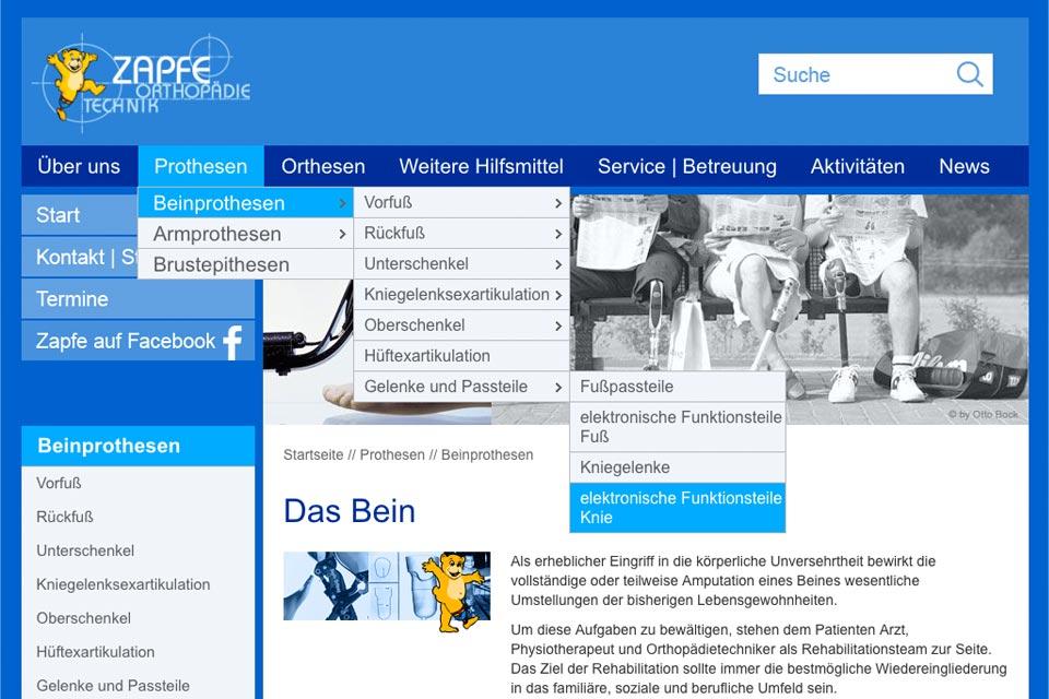 Navigationsebenen zapfe.de