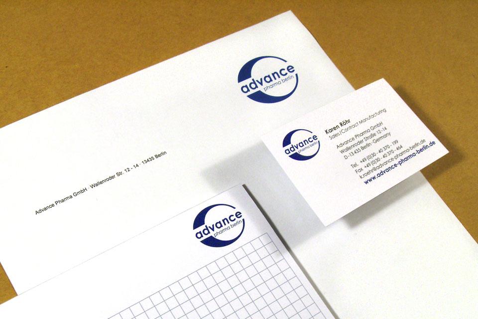 Logo und Geschäftsausstattung Advance Pharma