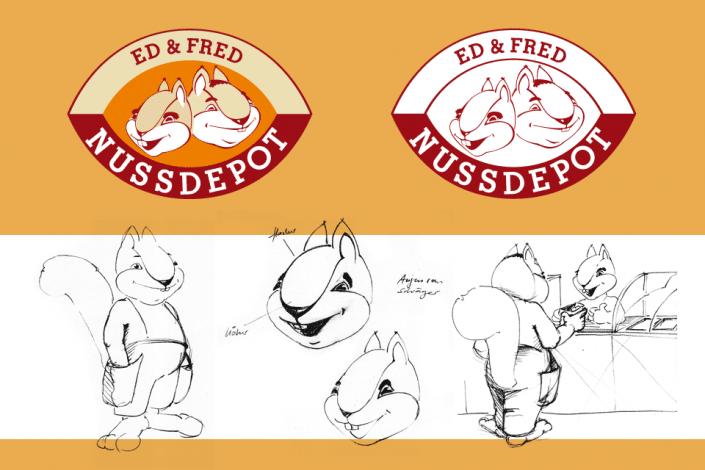 Logo und Maskottchen Ed und Fred Nussdepot
