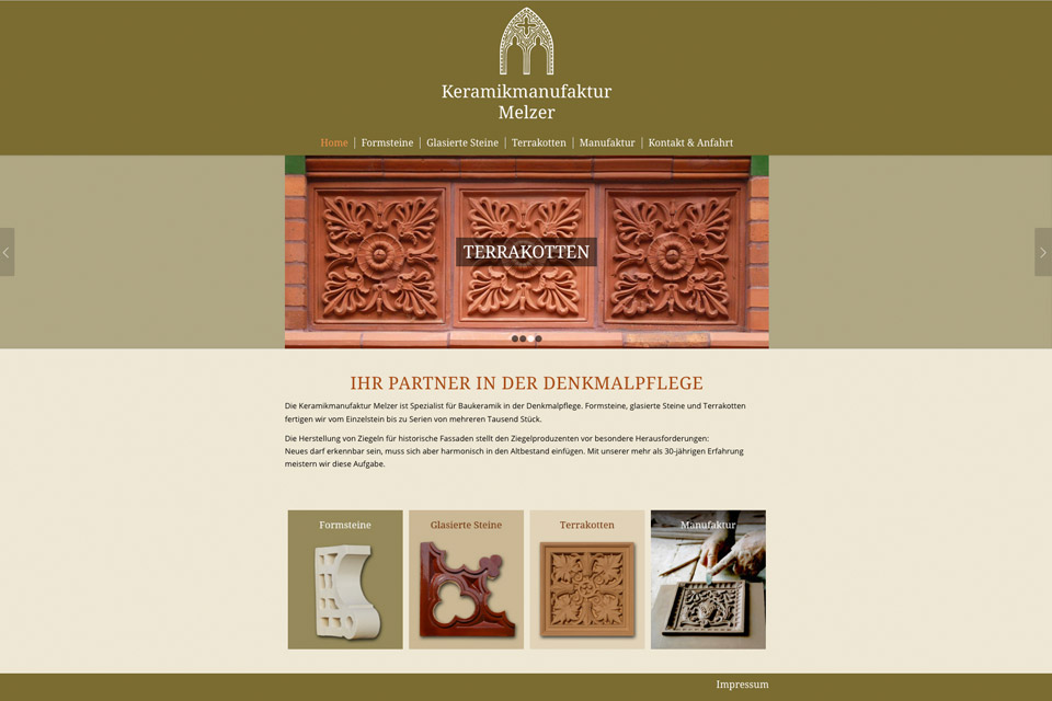 Website Keramikmanufaktur Melzer