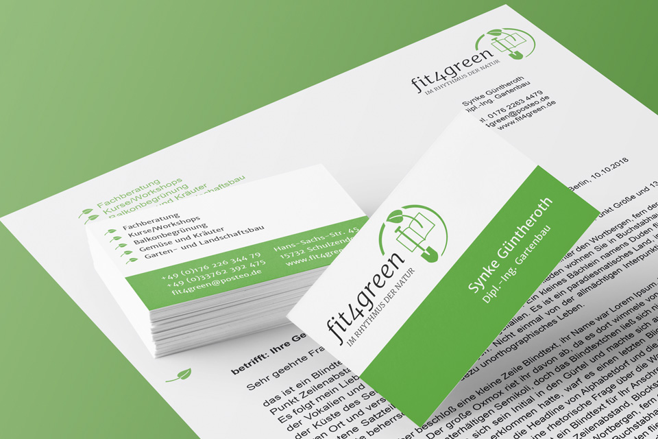 fit4green Logo und Geschäftsausstattung